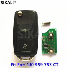 Chave controle remoto para automóveis Volkswagen, chave canivete com controle remoto, chave para VW, J0959753CT 5FA009259-00, de 1999 a 2005