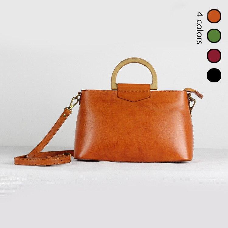 2018 Women Korea Retro Wooden Handle Handbag Flip Casual Shoulder Bag Diagonal Solid Color Vintage Bag With Gift Clutch