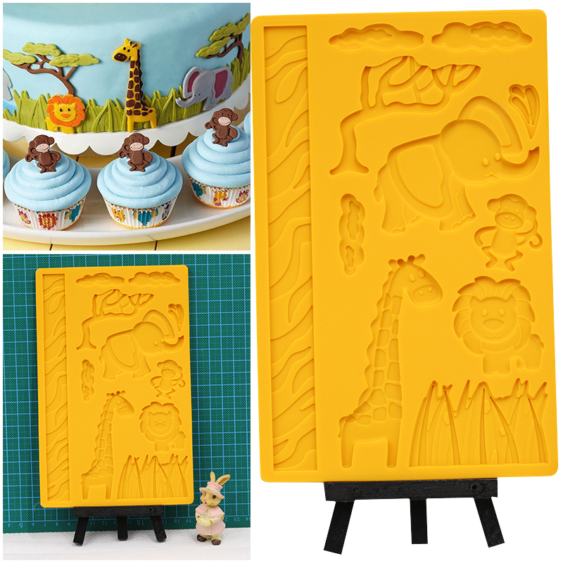 NPC Jungle Animale 3D Silicon Mold Fondant și Gum Paste Matrite, Lion Maimuță Tortul Girafa Cupcakes Decorarea Matrite Wilton Stil