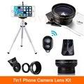 7in1 Kit HD Grande Angular Lentes Da Câmera Do Telefone 12.5X lente macro com grampos remoto móvel tripé para smartphones iphone samsung