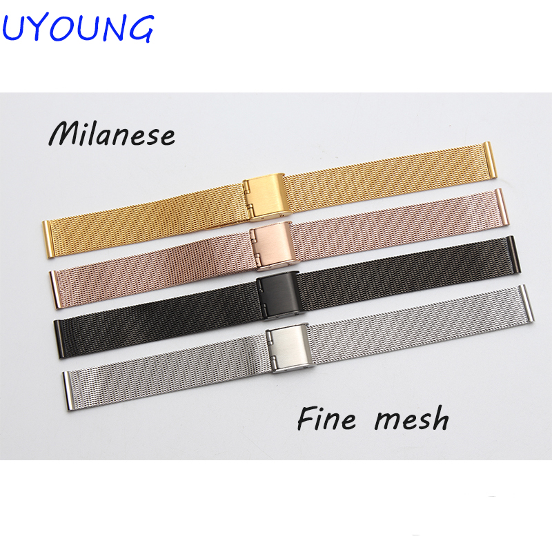 New Lug Width 10mm 12mm 14mm 16mm 18mm 20mm 22mm 24mm Rose Gold Stainless Steel Mesh Watch Band Bracelet Strap 0.8 Wire Mesh 8 10 12 14 16mm 18mm 20mm 22mm 24mm black silver gold rose gold ultra thin stainless steel milan mesh strap bracelets watch band