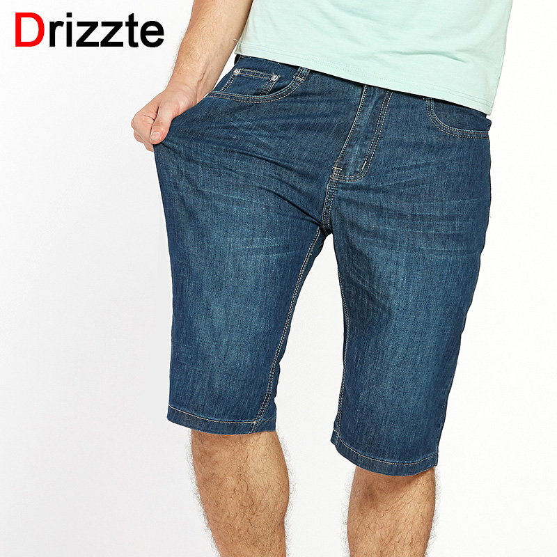 Drizzte Plus Size 32-42 44 46 48 50 52 Jeans Summer Mens Shorts Jeans Drak Blue