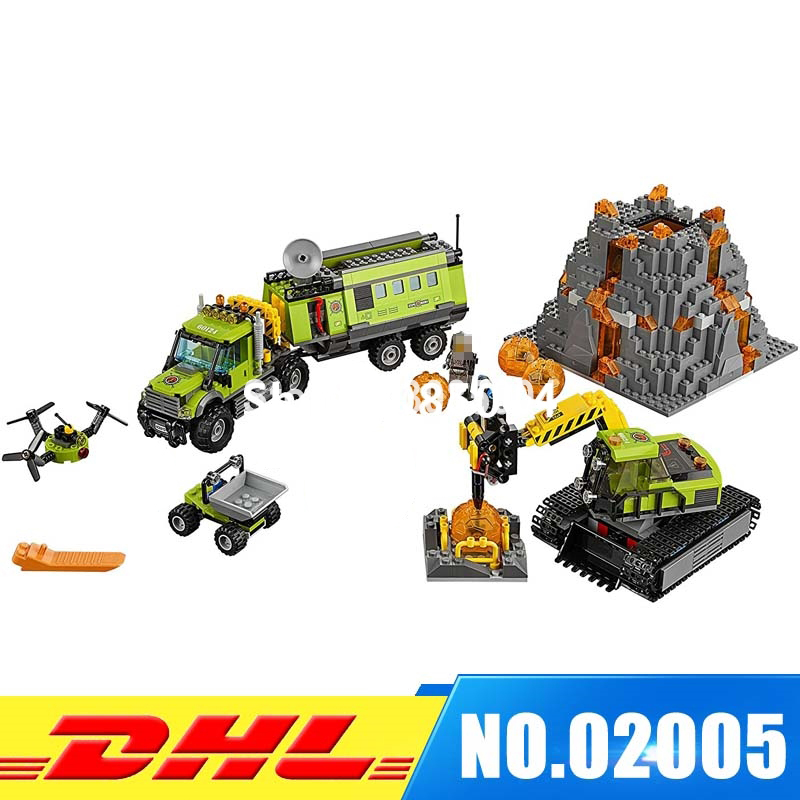 IN Stock LEPIN 02005 889 PCS City Volcano Exploration Base 60124 Construction Toy Set Model Building Kits Blocks Girl Gift lepin 02005 volcano exploration base building bricks toys for children game model car gift compatible with decool 60124