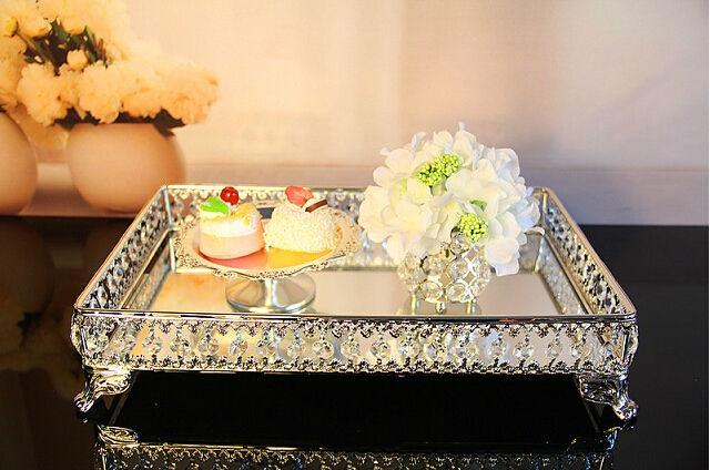 39*26cm Rectangle Decorative Metal Serving Tray Decoration