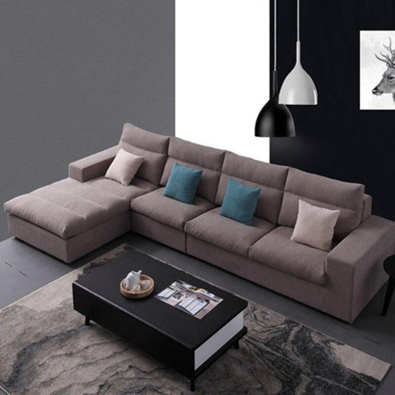 Galleria fotografica Semplice e moderno tessuto Nordic soggiorno angolo formato può essere demolito e lavato in lattice divano