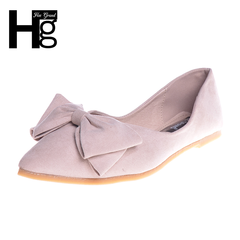 HEE GRAND Plus Size 34-43 Women's Cute Flats Fashion Pointed Toe with Big Bowtie Knot Vintage Flock Flat Shoes Woman XWD4140 memunia 2017 fashion flock spring autumn single shoes women flats shoes solid pointed toe college style big size 34 47