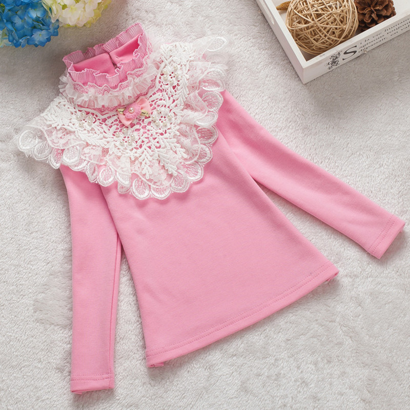 new 2017 spring Girls Long sleeve T shirt Children lace shirt Free Shipping For Students