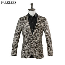 e7fe722c3719 Luxury Leopard Print One Button Velvet Suit Blazer Men 2018 Nightclub Prom Dress  Blazer Jacket Male Stage Singer Costume Homme