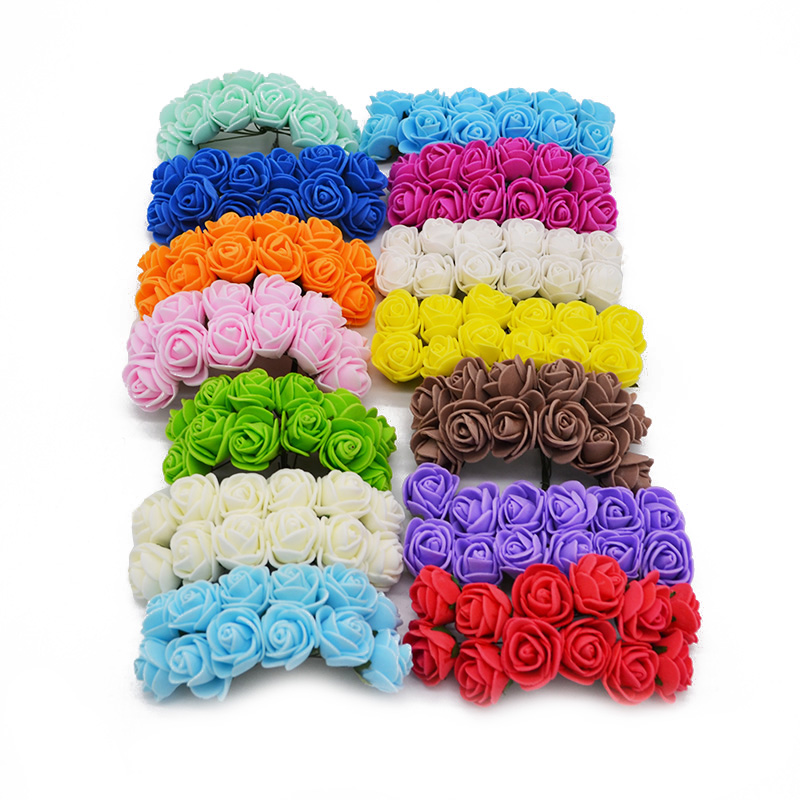 144 шт./лот 2 см многоцветный мини искусственный букет пенополиэтилен Роза для дома DIY ВЕНОК Свадебная вечеринка украшения поставки