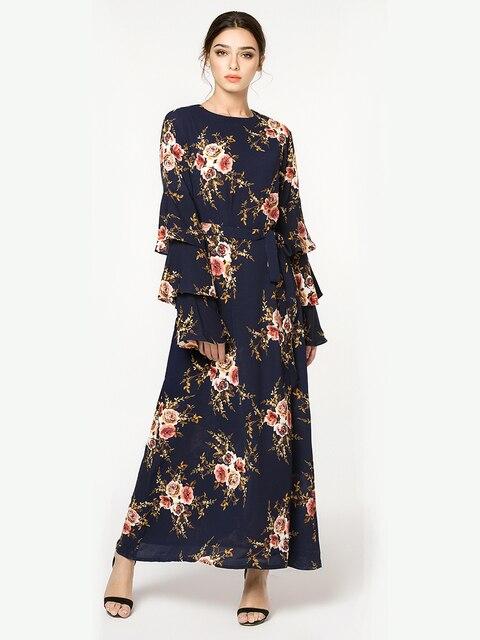 Women Marokko Kaftan Plus Size 7XL Printed Muslim Flower Dress Arabic Muslim Abaya Dress 1