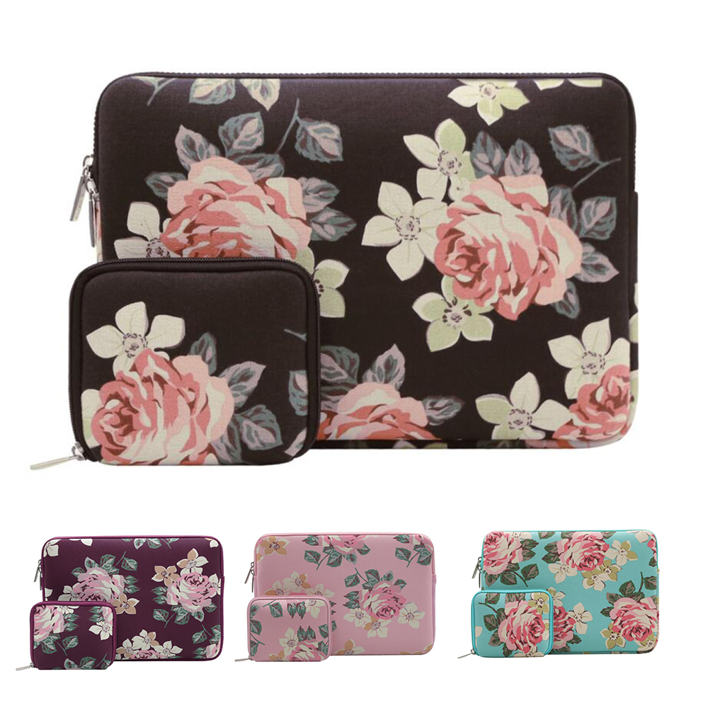 Mosiso Rose Laptop Bag for Macbook Air Pro 13 ASUS Acer Chromebook Women Sleeve Case for iPad Pro 12.9 inch