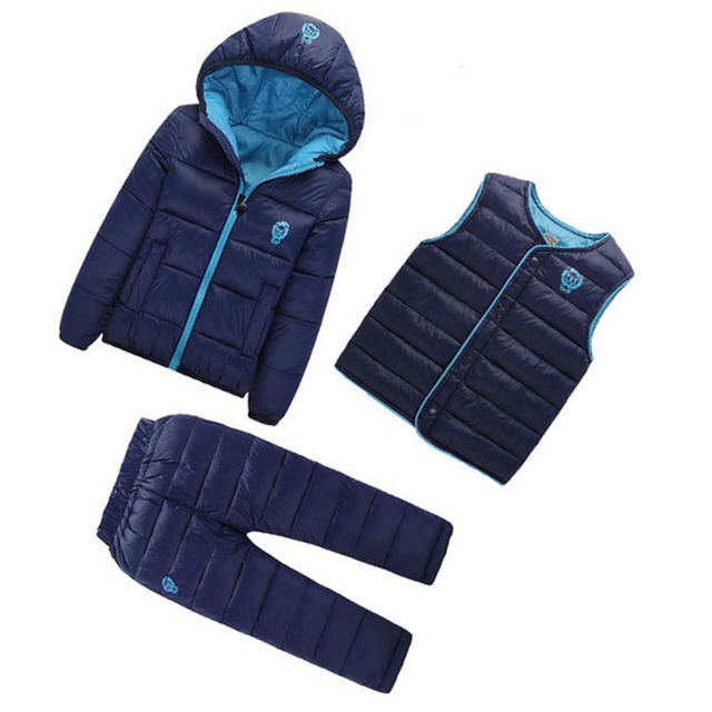 3 Pcs/1 Lot 2016 Winter Baby Girls Boys fashion Clothes Sets Children Cotton-padded Coat+Vest+Pants Kids Infant Warm outfit Suit