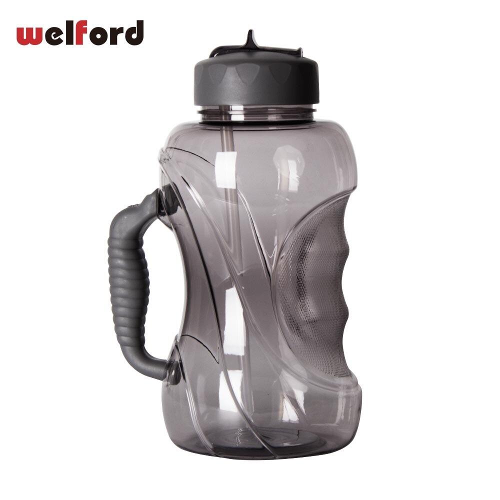 1500 ml de gran capacidad de la botella de agua con paja y manejar a prueba de fugas tapa de plástico deportes al aire libre, libre de BPA taza taza