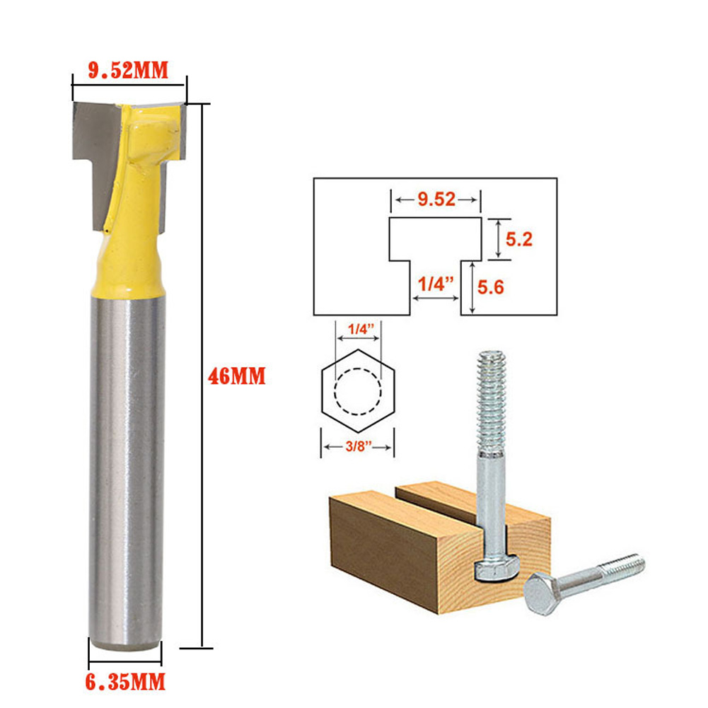 1/4 Inch Shank Carbide Alloy Yellow T Slot Lock Hole Cutter Router Bit Woodwork Milling Cutter Tool For Wood Perforation high grade carbide alloy 1 2 shank 2 1 4 dia bottom cleaning router bit woodworking milling cutter for mdf wood 55mm mayitr