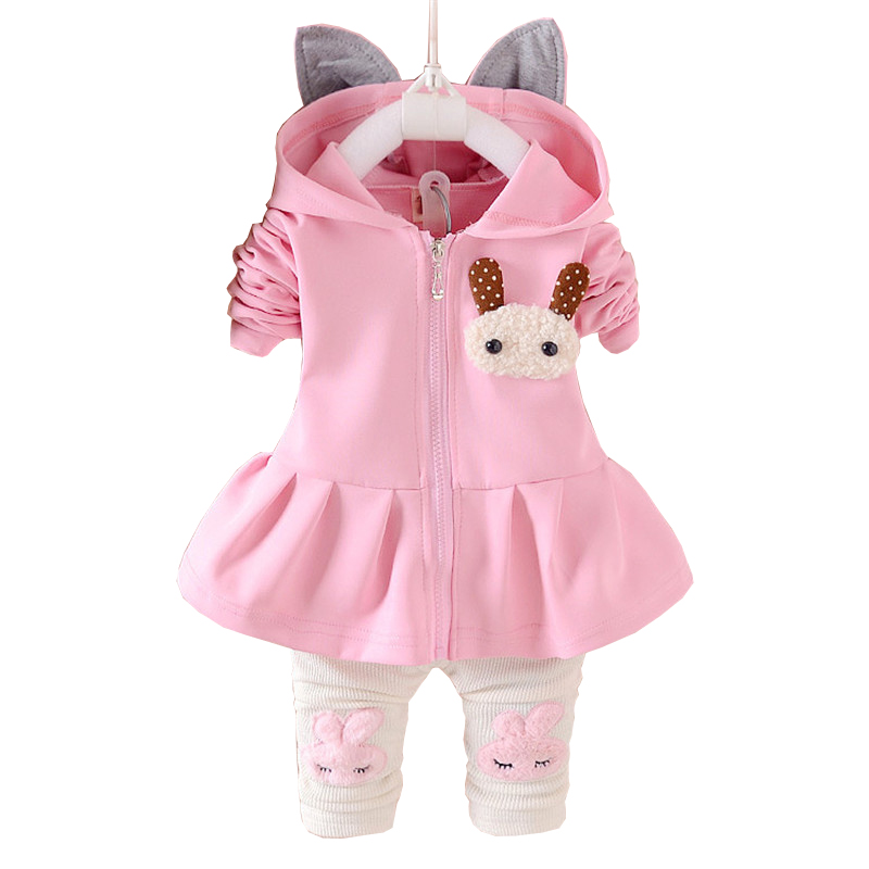 Bibicola Child Ladies Clothes Units Children Autumn Spring Informal Cotton Swimsuit Kids Hooded Coat T Shirt Pants Garments Tracksuit Set