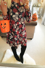 New Women Halloween Christmas Dress 2018 Casual Clothes Vintage Skull-head Printed Long Sleeve Dresses Spring Autumn Vestidos