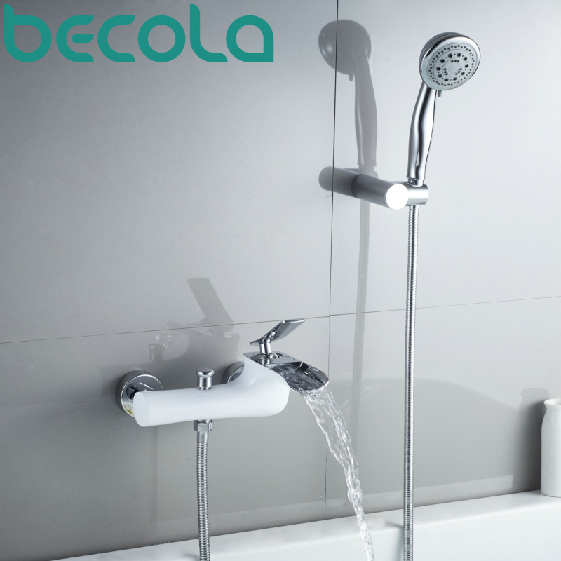 becola wall mounted bathtub faucets concealed waterfall shower faucet brass chrome bathroom mixer tap set B-0188C wall mounted waterfall shower faucet glass set copper bathtub faucet shower chrome bathroom handheld shower head faucet mixer
