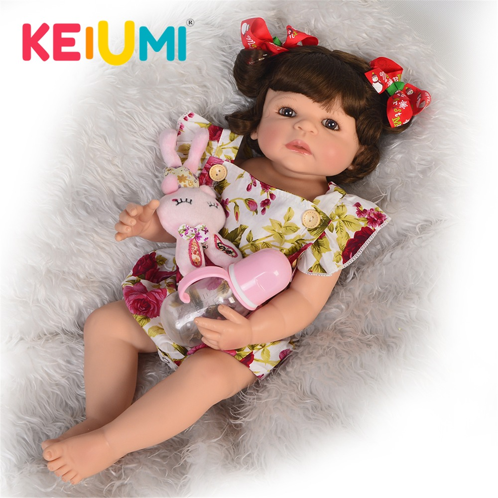 Lovely 55 cm Silicone Reborn Baby Girl Full Silicone Body Reborn Dolls Lifelike Kids Playmate Baby