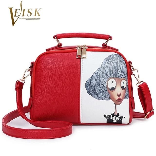 2016 Winter New Women's Handbags High Quality Design Girls Printing Crossbody Bags for Women Black Red Girls Handbags for School