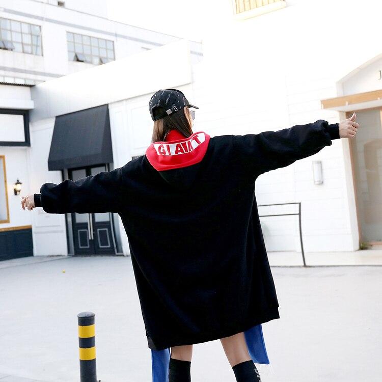 2 Hiver Long Sweat Impression Survêtement Faux La Conception Pcs Lâche Street High Taille Plus Chaud Cardigan Polaire Mujer Unique Manteau qSPzwt