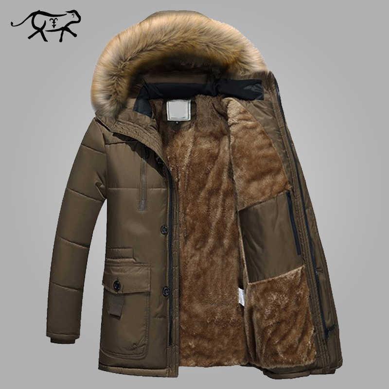 Парки Для мужчин брендовая одежда модная зимняя куртка Для мужчин  Термальность с капюшоном Плотная теплая куртка 1228b2310fd