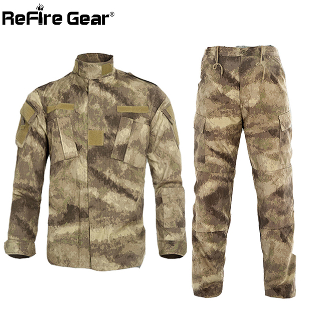 3518e064889ae ReFire Gear RU US Army Camouflage Clothes Set Men Tactical Multicam Combat  Suit Paintball Airsoft Camo Military Uniform Clothing