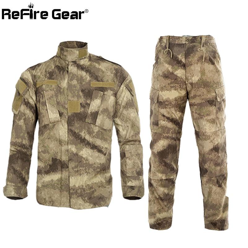 ReFire Gear RU US Army Camouflage ชุดเสื้อผ้าผู้ชายยุทธวิธี Multicam ต่อสู้ชุด Paintball Airsoft Camo ทหารเสื้อผ้า-ใน ชุดผู้ชาย จาก เสื้อผ้าผู้ชาย บน   1