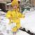 Bebé traje para la Nieve de Invierno Rusia Natural Raccon Cuello de Piel Con Capucha Espesar Jumsuits para Muchachas de Los Bebés Chaqueta de Plumón de Pato Nieve Desgaste