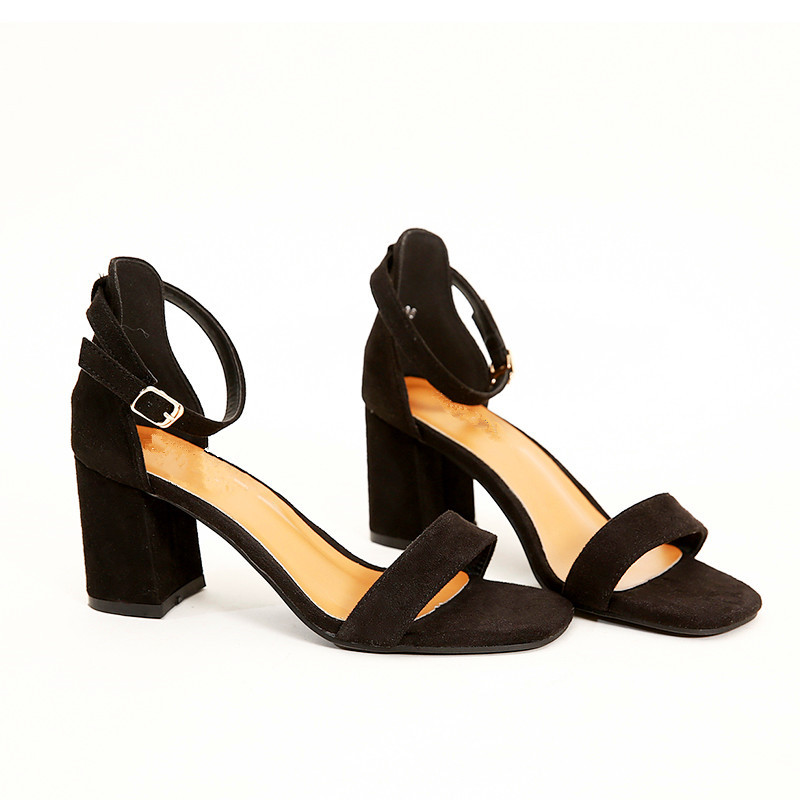 Beige Black Gladiator Sandals Summer Office High Heels Shoes Woman Buckle Strap Pumps Casual Women Shoes Plus Size 34-40 n686 5