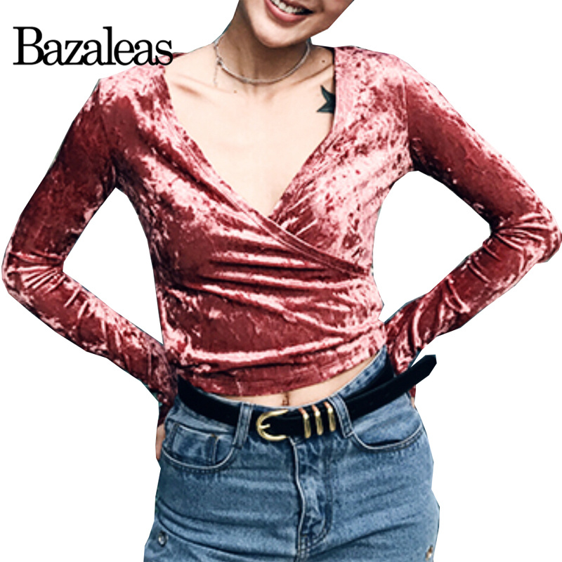 Bazaleas spring women low cut v neck t shirt fashion for Low neck t shirts women s