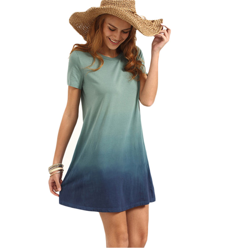 Dotfashion Multicolor Patchwork Short Sleeve T-shirt Dress Female Summer Color Block Round Neck Loose Mini Dress 4