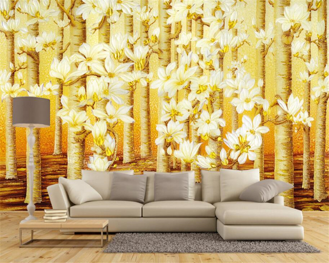 beibehang Custom wallpaper 3D gold color color forest oil painting ...