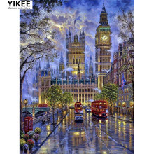YIKEE city landscape diamond embroidery,full square diamond painting, 5d diy, diamond embroidery london street(China)