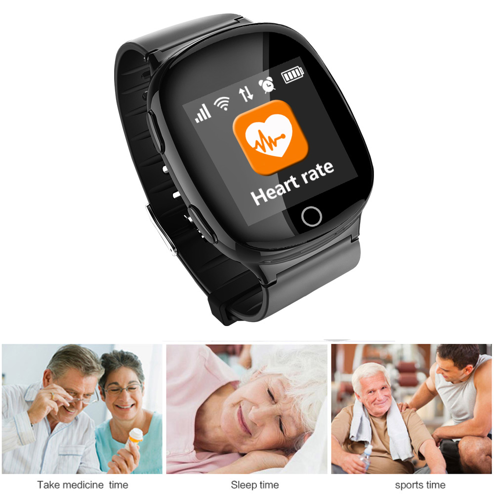 Smart Watch GPS Tracker Positioning Anti-lost Heart Rate Sports Tracker Fall-down Alarm SOS Locator Tracking for Elder Kids