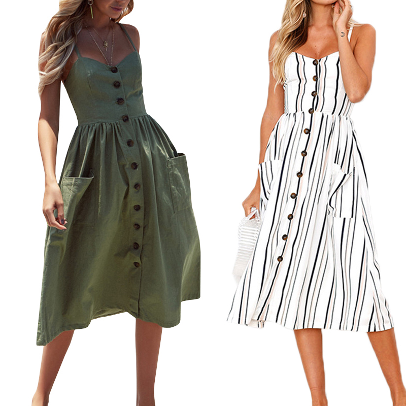 Casual Vintage Sundress Women Summer Dress 2019 Boho Sexy Dress Midi Button Backless Polka Dot Striped Floral Beach Dress Female(China)