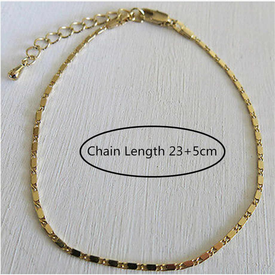 長さ 23 センチメートル + 5 センチメートルエクステンダチェーン/シンプルなチェーン女性ファッションファムジュエリーギフト足チェーン女の子