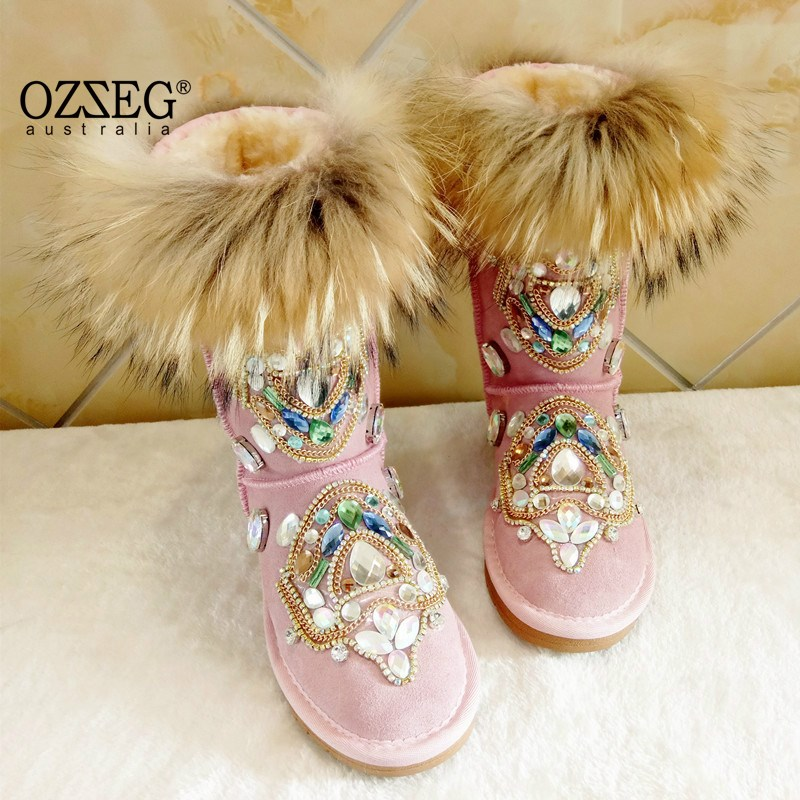 Winter Women Warm Snow Boots Fashion Crystal Luxury Hand Made Genuine Leather Shoes Women Boots Female Fur Plush Botas Mujer muhuisen winter men genuine leather shoes fashion casual plush warm boots lace up flats male snow boots fur inside comfort