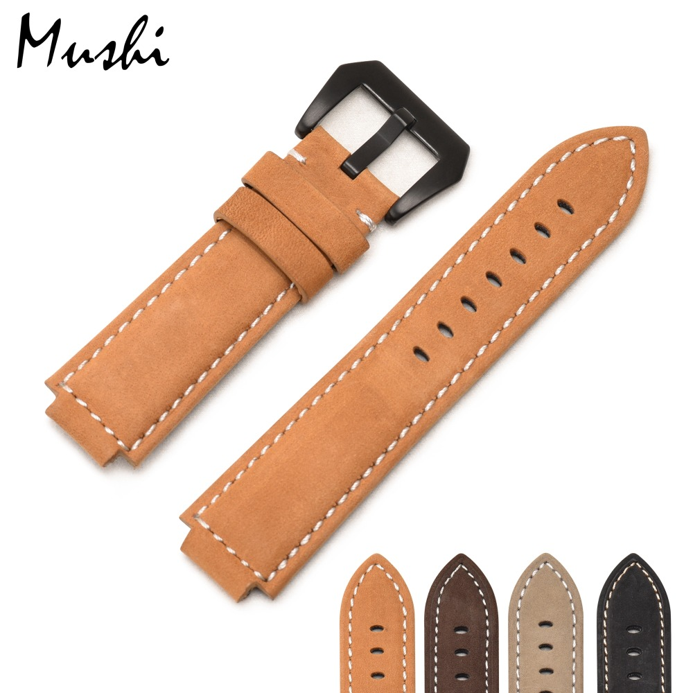 Mushi Genuine Leather Watchband strap For Timex T49859|T2N720|T2p141|T2n722|723|