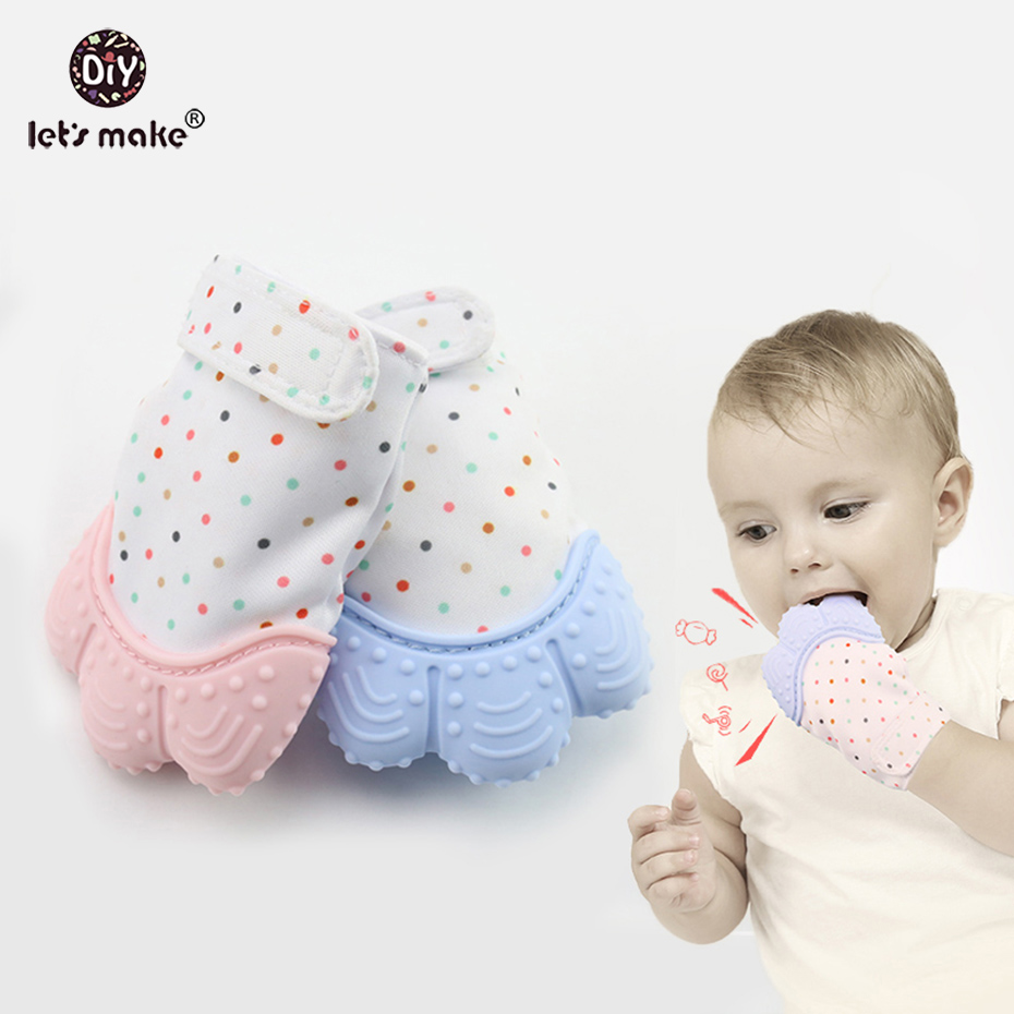 Lets Make 1pc Baby Toys Silicone Mitten Teething Glove Thumb Sound Chewable Nursing Bite Boys and Girl Baby Shower Gift Teether