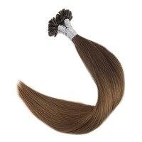 Полный блеск предварительно связаны подсказка волос Цвет #3 потертостями до 6 выметания 1 г/strand 50 г 100% remy Пряди человеческих волос для наращив...