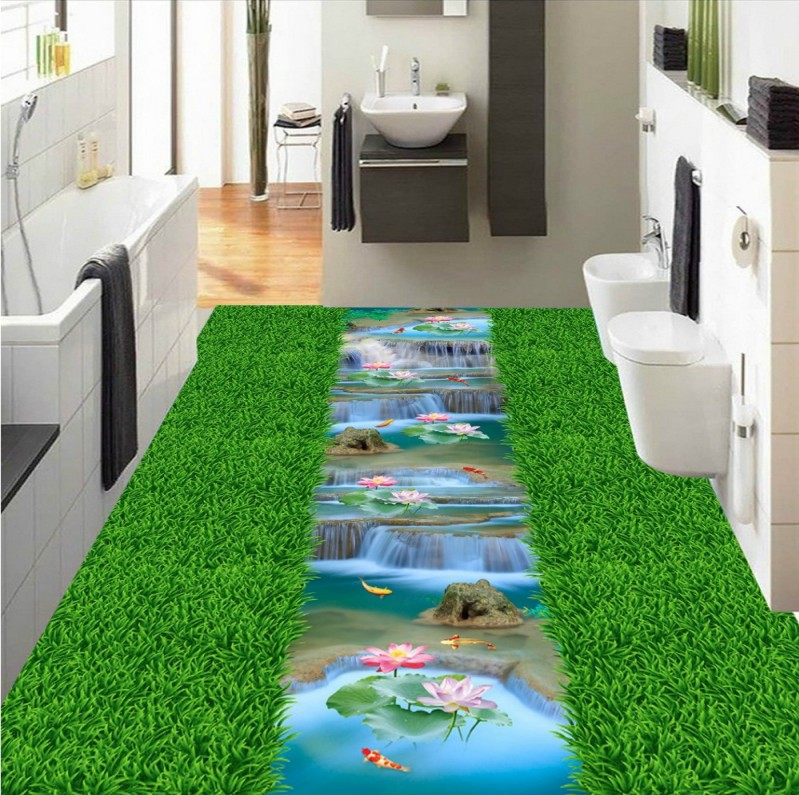 Free Shipping Grass creek carp lotus bathroom kitchen walkway 3d floor stickers wear non-slip bedroom flooring wallpaper mural free shipping realistic large pond carp floor 3d wear non slip thickened kitchen living room bathroom flooring wallpaper mural