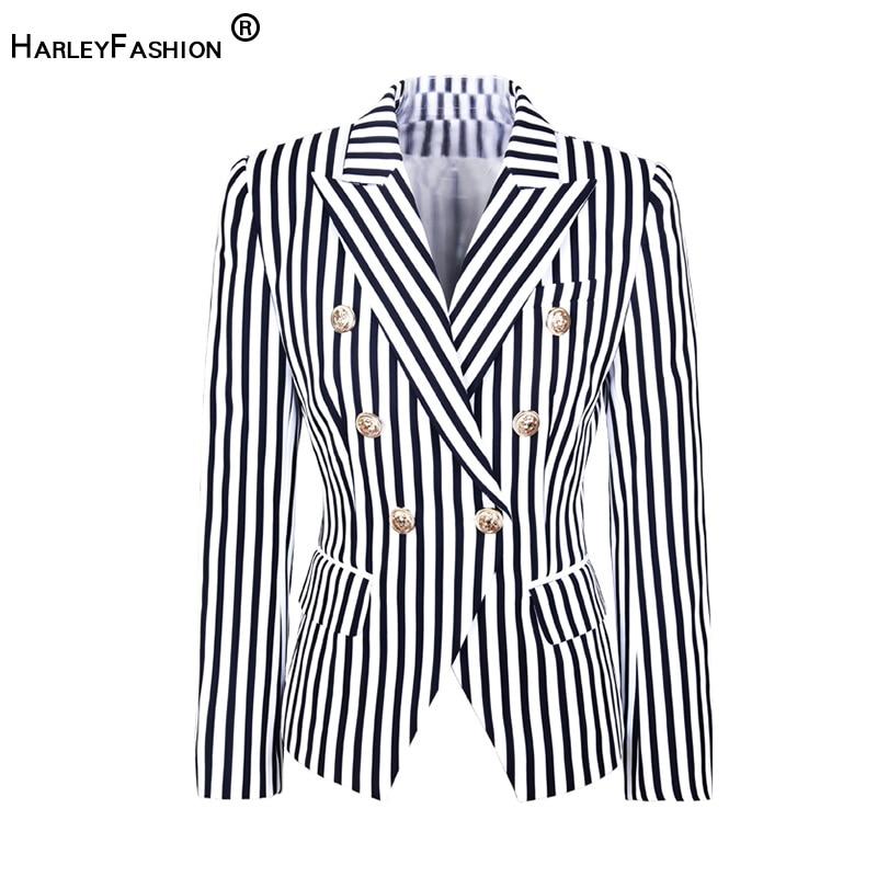 HarleyFashion Europe And America Street-Wear Fashion Striped Printed Top Jacket Two Colour Slim Blazer