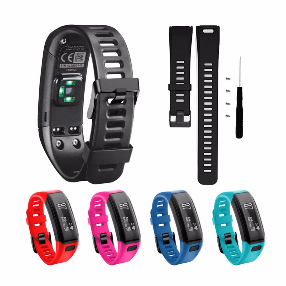 Replacement for Garmin Vivosmart HR Plus HR+ Watchband Watch Wrist Strap With Pin Tools Screw Kits Sports Silicon Band Bracelet