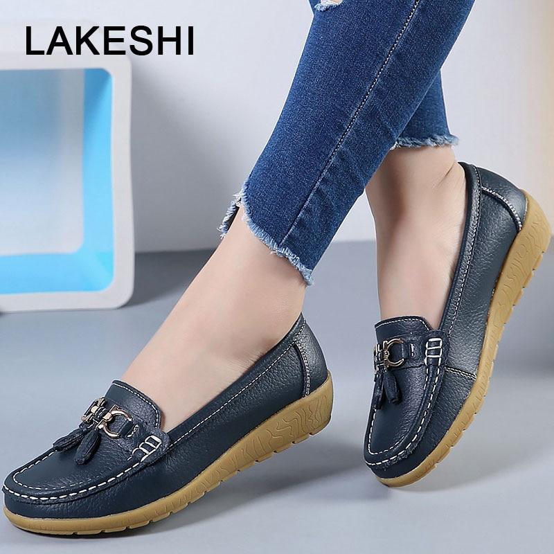 LAKESH Casual Women Flat Shoes Leather Boat Shoes 10 Colors Fashion Fringe Female Shoes Round Toe Lazy Shoes Plus Size 35-44 Обувь