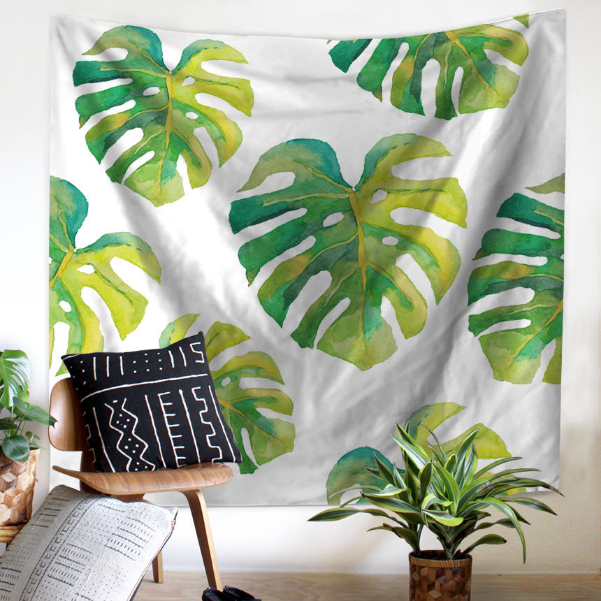 Wall Tapestry Tropical Palm Telopea Monstera Ceriman Wall Decor Large Wall Hanging Green Leaf Wall Art 150x130cm/200x150cm tassels pillow