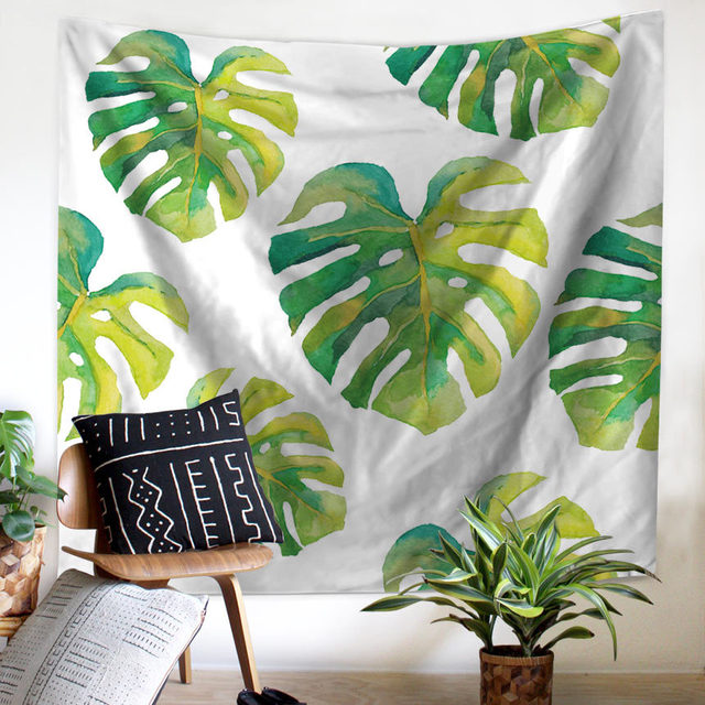 Wall Tapestry Tropical Palm Telopea Monstera Ceriman Wall Decor Large Wall  Hanging Green Leaf Wall Art