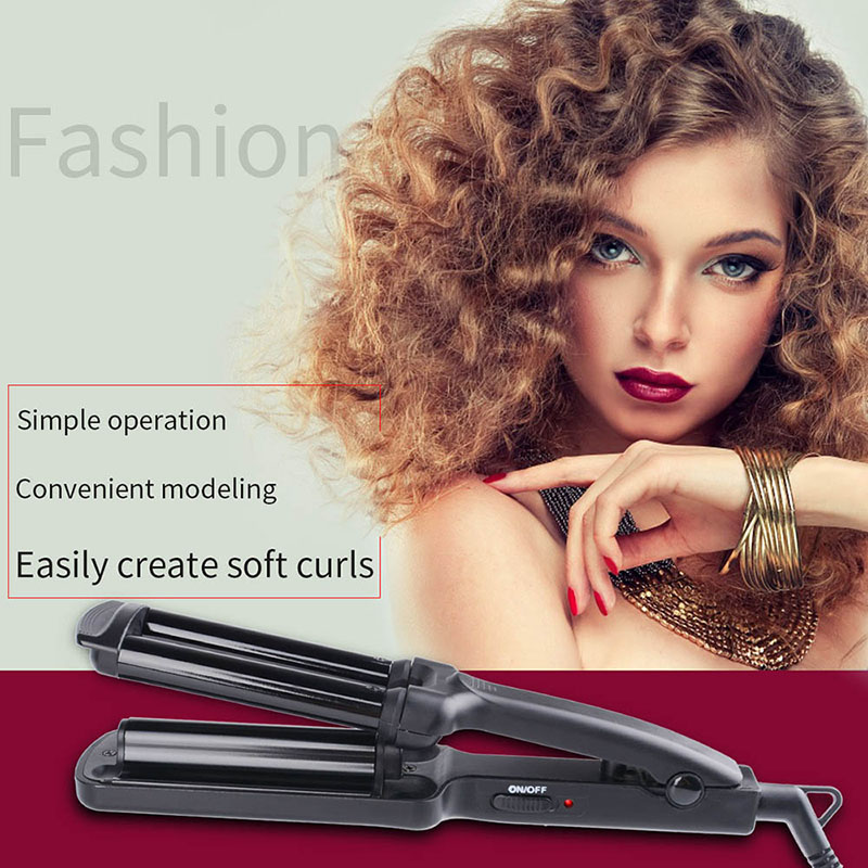 CkeyiN Mini Portable Electric Hair Curler Roller Personal Hair Styling Tool Thermostatic Wavy Ceramic 3 Barrel Curling Iron Wand ckeyin 9 31mm ceramic curling iron hair waver wave machine magic spiral hair curler roller curling wand hair styler styling tool