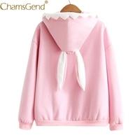Chamsgend Hoodies Sweatshirts Women Girls Cute Rabbit Ear Pink Black Pullover Tops Front Pocket Hoodie Sweatshirt