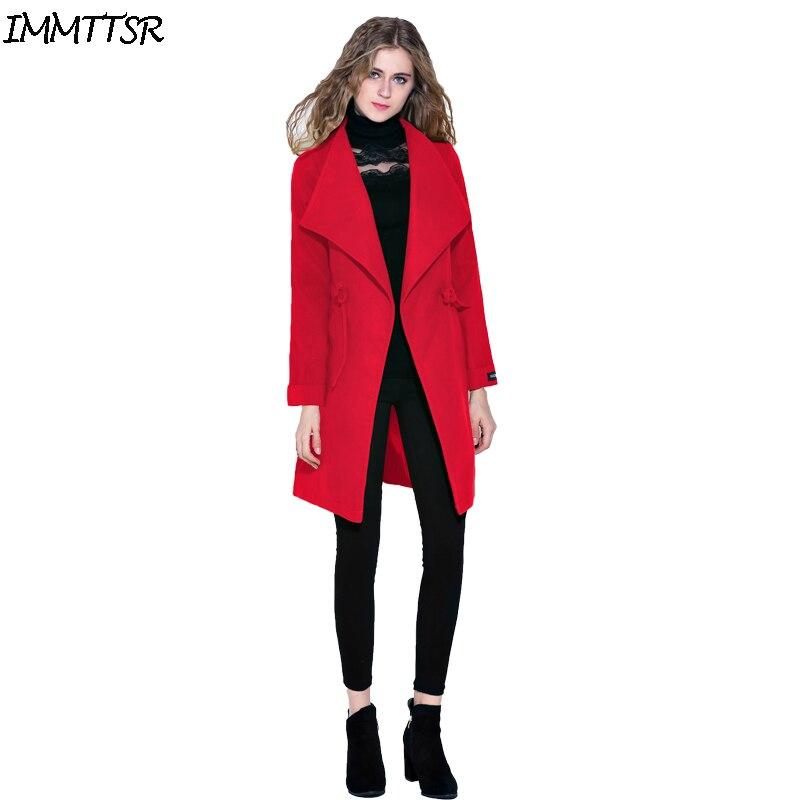 immttsr woolen coat for women 2017 fashion winter solid red belt blend coat manteau femme hiver