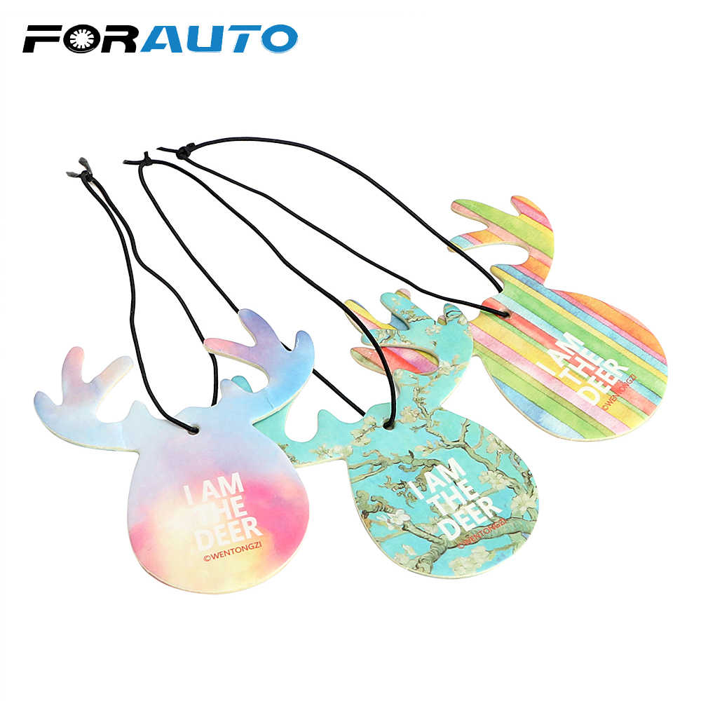 FORAUTO Car Hanging Perfume Air Freshener Fragrance Papers 6 Types Deer Shape Car-styling Auto Decoration Car Perfume